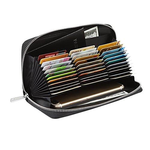 Women 36 Slots RFID Blocking Card Holder Large Long Leather Zipper Checkbook Accordion Wallet