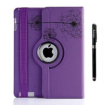 inShang Fundas Soporte y Carcasa Compatible con iPad 2, iPad 3, iPad 4, 360 Grados de rotacion, Cubierta Smart Cover PU Funda, sueno/Despertar, Pluma