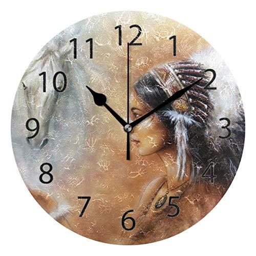 10 American Clock - XiangHeFu Wall Clock,Round 10 Inch Diameter Silent American Native Beautiful Indian Decorative for Home Office School