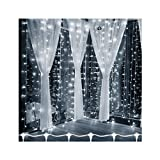 PMS 29.5ft x 9.8ft/9m x 3m, 900 LED Window Curtain String Lights, Day White Fairy Light, 8 Lighting Modes, Connectable, Low Voltage, UL Listed,for Christmas Party Wedding Garden Gazebo Balcony
