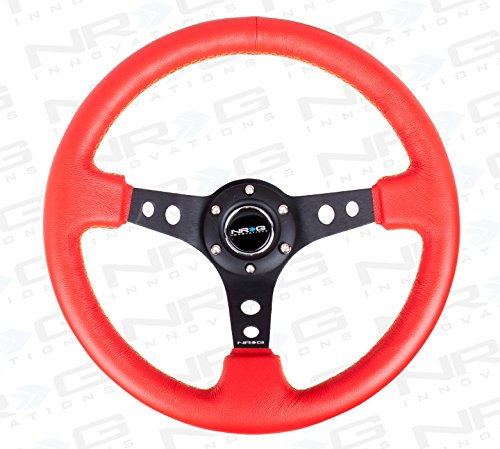 NRG Innovations ST-006RR-YS 350mm Sport Steering Wheel (3\' Deep) (Red Leather with Yellow Stitching)