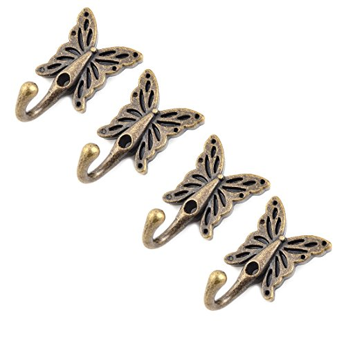 uxcell Metal Home Butterfly Vintage Design Wall Mounted Hanger Hook 4 Pcs Bronze Tone