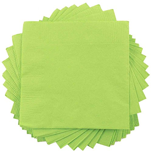 JAM PAPER Medium Lunch Napkins - 6 1/2 x 6 1/2 - Lime Green - 50/Pack