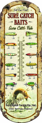 Rivers Edge Extra Large Nostalgic Tin Thermometer with Sure Catch Baits Slogan