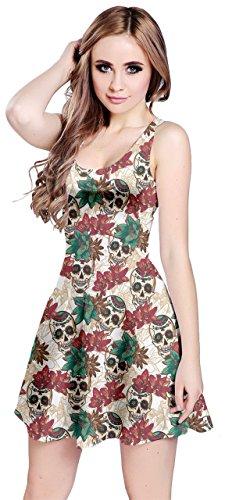 CowCow Womens Skull with Flowers Sleeveless Dress, Beige - -