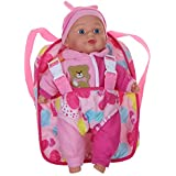 "12"" Soft Baby Doll with Take Along Pink Doll Backpack Carrier, Briefcase Pocket Fits Doll Accessories and Clothing"