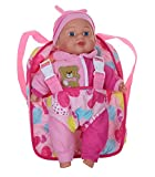 """Adorable 13"""" Soft Baby Doll With Take Along Pink Doll Backpack Carrier, Briefcase"""