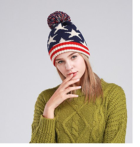 Chaud En D'hiver Acvip Marine Tricot Étoile Chapeau Bleu Bonnet Headwear Femme Pom x0A08Bw