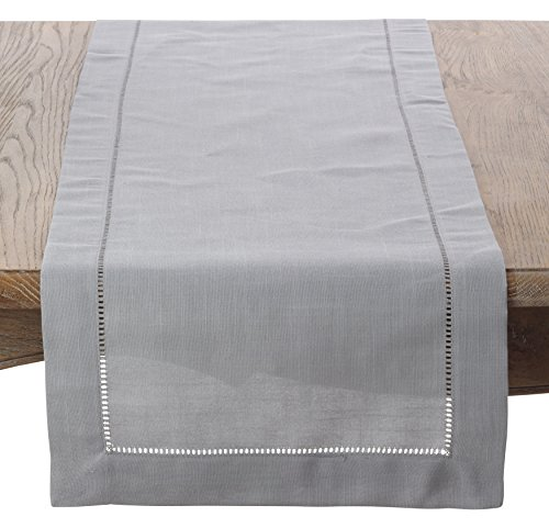 SARO LIFESTYLE Classic Hemstitiched Border Table Runner, 16'' x 120'', Grey by SARO LIFESTYLE
