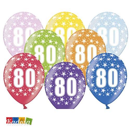 Globos 80° Cumpleaños Mezcla Metálica (30 cm): Amazon.es: Hogar