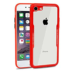 iPhone 8 Plus Case,iPhone 7 Plus Case,Beasyjoy 9H Tempered Glass Back Cover Scratch Resistant Soft Silicone Bumper Shock Absorption for iPhone 8 Plus/7 Plus (Red)