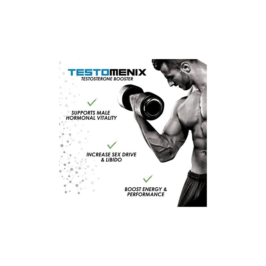 TestoMenix, All Natural Testosterone Booster Increase Energy and Muscle Mass 60 Caplets