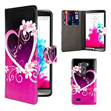 32nd® Design book wallet PU leather case cover for LG G4 + screen protector and cloth - Love Heart