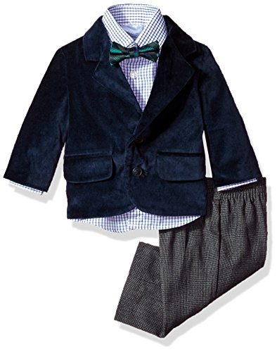 Blue Plaid Suit (Nautica Baby Boys' Velvet Suit Set, Velvet Navy, 24M)
