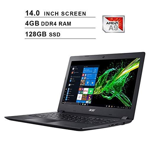 Acer Aspire 3 14-Inch Premium Laptop - AMD A9-9420e 1.8GHz up to 2.7GHz, AMD Radeon R5, 4GB DDR4 RAM, 128GB SSD, HDMI, WiFi, Bluetooth, Webcam, Windows 10 Home, Black (Renewed)