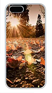iPhone 5 5S Case Landscapes sun leaves PC Custom iPhone 5 5S Case Cover White