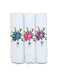 Selini Women's Floral Embroidered Cotton Handkerchief Set (Pack of 3), White