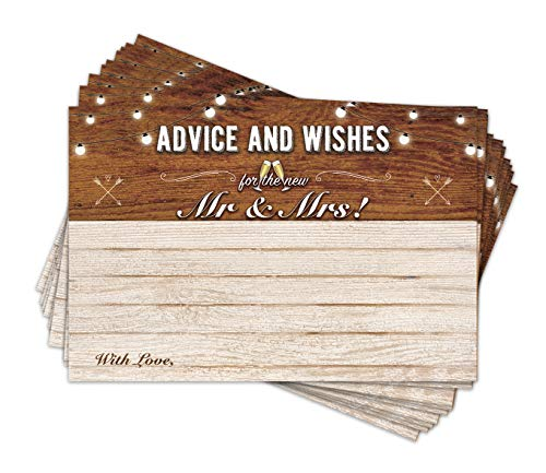 Wedding Advice and Well Wishes Cards For the Bride and Groom | Guest Book Alternative | Game Note and Marriage Best Advice Note Cards | Pack of 50 4x6 Cards (Amber)