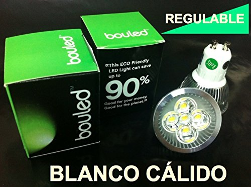 Bouled - Bombilla LED GU10 (220V) de 10W Blanco Cálido REGULABLE: Amazon.es: Iluminación