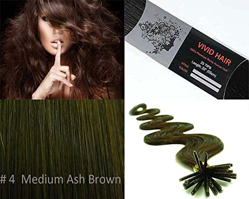 50 Strands Wavy Body Wave Micro Ring Links Locks Beads Keratin Stick I Tipped Pre Bonded Human Hair Extensions Color #4 (Medium Ash Brown) (Ash Lock Browns)