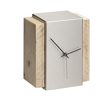 Tischuhr Design amazon de bony design tischuhr edelstahl bauholz 23 19 11