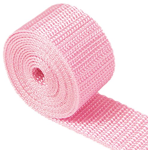 HipGirl 1 1/4 Polypro Webbing, 10 Yards, For DIY Key Chain Fob, Yoga Strap, Tote, Bag Handle, Backpack Strap, Belt, Leash, Outdoor Chair and Furniture-Lt Pink