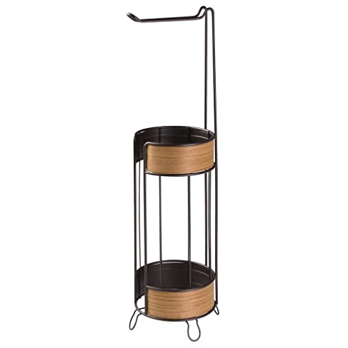 interdesign 90172eu realwood freistehender toilettenpapierhalter metal wood veneer bronze 1803 - Freistehender Toilettenpapierhalter Chrom