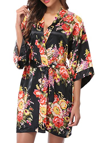 Style Black Short - 1STMALL Floral Satin Kimono Short style Bridesmaids Robes For Women Black-M
