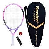 Senston 19'' Junior Tennis Racquet for Kids Children Boys Girls Tennis Rackets with Racket Cover Pink with Cover Tennis Overgrip Vibration Damper