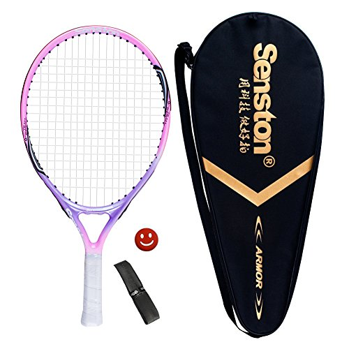 ennis Racquet for Kids Children Boys Girls Tennis Rackets with Racket Cover Pink with Cover Tennis Overgrip Vibration Damper ()