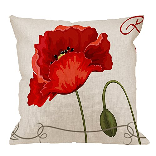 HGOD DESIGNS Throw Pillow Case Red Poppies Cotton Linen Square Cushion Cover Standard Pillowcase for Men Women Home Decorative Sofa Armchair Bedroom Livingroom 18 x 18 inch (Barn Red Pottery)