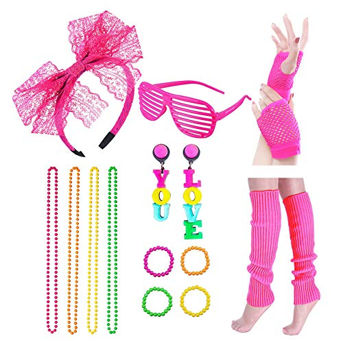 Icevog Womens 80s Costume Accessories Set Disco Party Fancy Outfit Cute Headband Sexy Gloves Vintage Neon Earrings -