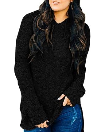 4103b01f493094 Dellytop Womens Sweaters Hooded Fuzzy Long Sleeve Loose Fleece Hoodies Knit  Tunics
