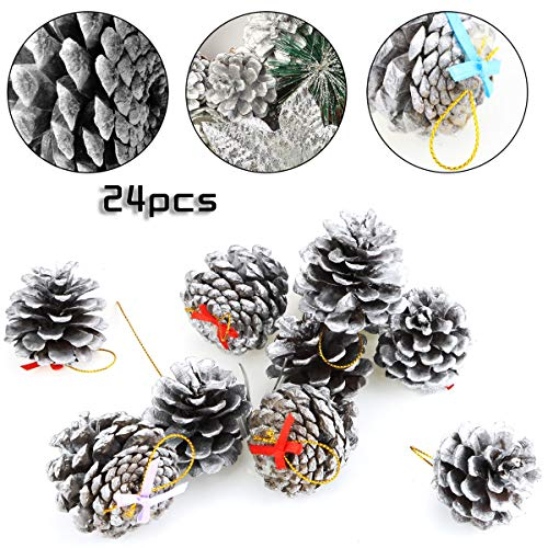 (BeautyMood 24 pcs Natural Pine Cone Christmas Pine Cone Ornaments Christmas Tree Decorations -)