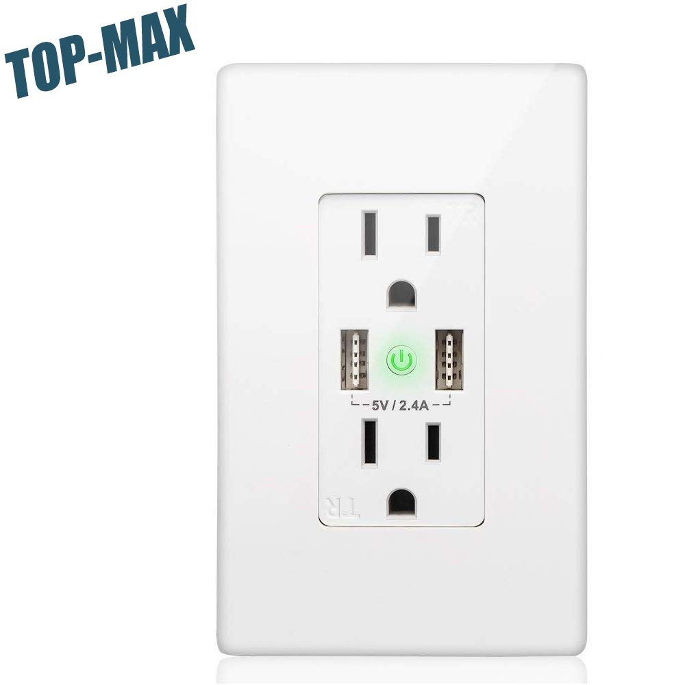TOP-MAX WiFi Smart Wall Switch, Wireless Smart Wall Switch with 2 USB Ports and 2 Sockets, USB Wall Outlet With Remote/Timing/Lighting Control,Compatible With Alexa Echo/Google Home/iOS/Android