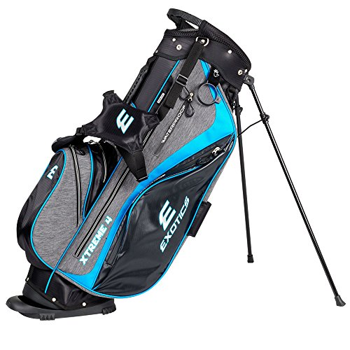 Tour Edge Exotics Extreme 4 Stand Bag 2018 Gray Scratch Plaid/Blue by Tour Edge