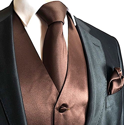 Brand Q Men's Dress Vest NeckTie Pocket Square Set for Suit or Tuxedo (L, ()