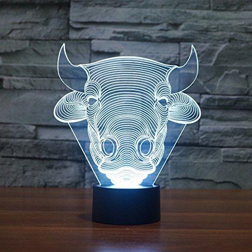 Vaca Bull Animal noche luz LED de 7 colores Cambio Interruptor táctil lámpara de mesa