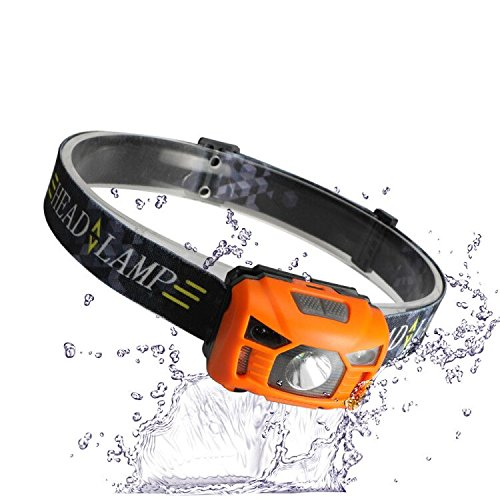 Three trees Sensor Brightest LED -With Red Light Rechargeable Headlamp Flashlight for Kids Men and Women ,Waterproof Perfect for Running, Walking ,Reading,Camping Adjustable in 200 Lumens (orange)