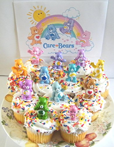 Care Bears Cupcake Topper Birthday Party Decorations Set of 12 Figures with Share Bear, Wonderheart Bear, Grumpy Bear, Wish Bear and Many More! (Birthday Care)