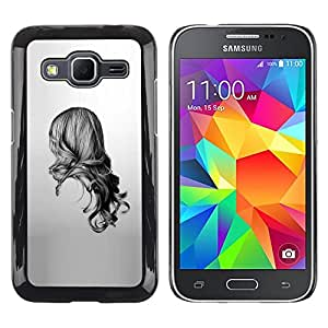 Exotic-Star ( Girl Black White Drawing Minimalist ) Fundas Cover Cubre Hard Case Cover para Samsung Galaxy Core Prime / SM-G360