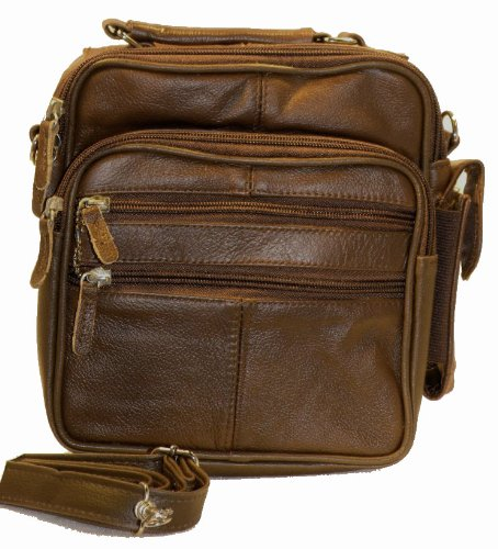 Roma Leathers Brown Leather Travel Organizer Crossbody Shoulder Bag
