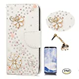 STENES Galaxy S9 Case - Stylish - 3D Handmade S-Link Flowers Wallet Card Slots Fold Leather Cover Case Black Elephant Dust Plug,Screen Protector for Samsung Galaxy S9 - White