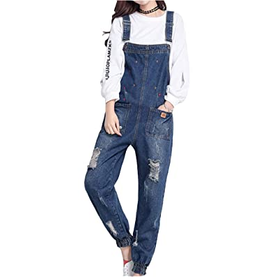 ad4b34207afc Elwow Women s Denim Dungarees Jeans Trousers Romper Harem Jumpsuit Pants  Overall Playsuit with Distressed   Star