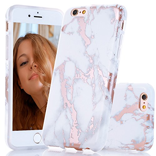 iPhone 6s Plus Case, Shiny Rose Gold White Marble Design, BA