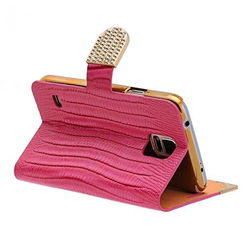 Handy Tasche mit Strass-Steinen Schutz Hülle Für iPhone 6 / 6s Plus in Pink Flip Cover Wallet Case Book Style Klapp Etui Schale