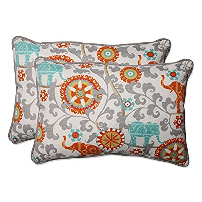 Pillow Perfect Outdoor/Indoor Menagerie Cayenne Over-Sized Rectangular Throw Pillow (Set of 2) - Includes two (2) outdoor pillows, resists weather and fading in sunlight; Suitable for indoor and outdoor use Plush Fill - 100-percent polyester fiber filling Edges of outdoor pillows are trimmed with matching fabric and cord to sit perfectly on your outdoor patio furniture - patio, outdoor-throw-pillows, outdoor-decor - 51 JdcX4 EL. SS400  -
