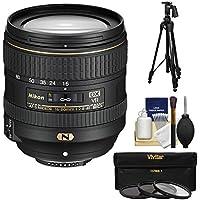 Nikon 16-80mm f/2.8-4E VR DX AF-S ED Zoom-Nikkor Lens with 3 Filters + Pistol Grip Tripod Kit for D3200, D3300, D5300, D5500, D7100, D7200 Camera