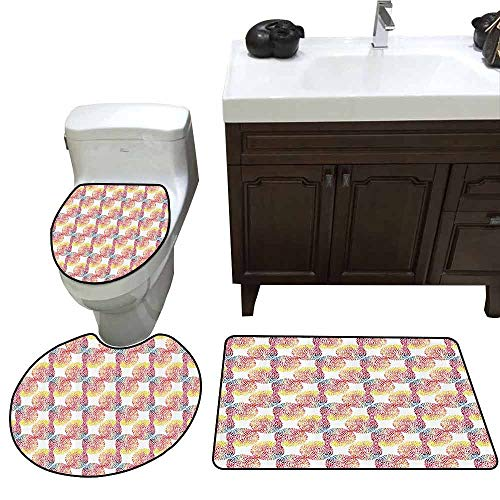 U-Shaped Toilet Floor Rug Set Abstract Watercolor Dotted
