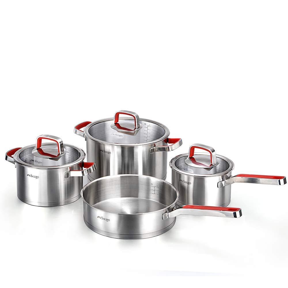 新しい2018 soligeクラシックステンレススチール調理器具7ピースセット耐熱性ハンドル付き   B07FY1CZLV